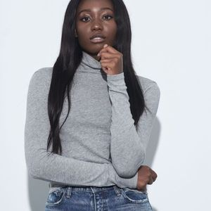 VINCE Essential Tissue Thin Gray Turtleneck Top